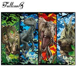 2020 pintura de dinossauro FULLCANG DIY completa Praça Diamante Bordado Dinosaur World Animais Diamante Pintura Pintura 5D Cristal Cross Stitch Mosaic G798 pintura de dinossauro barato