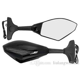 espelhos de fumaça Desconto Motocicleta preta LED por sua vez, sinais de espelho retrovisor da bicicleta do esporte para honda yamaha kawasaki ninja (fumo, preto)
