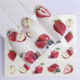 pastel de frutas de manzana Rebajas Summer Fruit Strawberry Cherry Cake Ice Cream Apple Nail Art Etiqueta de transferencia de agua Decoración Slider Decal Manicure