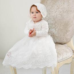 2019 robes de baptême nouveau-né Nouvelle dentelle bébé fille baptême robe robe de baptême princesse longue bébé fille robes chapeaux 2 pcs nouveau-né bébé fille vêtements designer A4866 robes de baptême nouveau-né pas cher