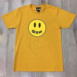 2020 sonrisa de mujer camiseta Drew House camiseta de los hombres de las mujeres de color amarillo Negro de la sonrisa camisetas Drew House camiseta sonrisa de mujer camiseta baratos