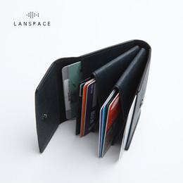 sacchetto del passaporto di corsa all'ingrosso Sconti Portamonete in pelle da uomo in pelle LANSPACE con mini portamonete porta monete unisex