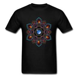 Camisas de designer roxo homens on-line-Om T-shirt Dos Homens Tshirt Preto Roxo Teal Mandala Com Pedras Preciosas Geométrica Designer T Camisas Do Presente Do Dia Do Pai Camisolas Legal