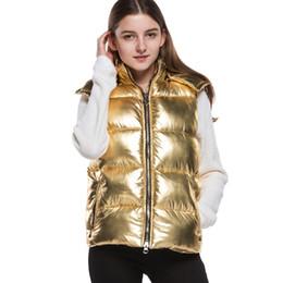 Argentina Brillante Invierno Mujeres Chaleco Chaleco de Algodón Chaleco de la muchacha NUEVO Otoño Chaleco Abrigo Mujer Espesar Streetwear Caliente 2019 Moda ORO cheap girls gold vest Suministro