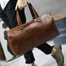 sacos vintage de duffle de couro Desconto LAPOE Homens Sacos de Viagem De Couro Retro Do Vintage Bagagem de Mão Durante A Noite Saco de Designers Da Moda Grande Duffle Bags Saco De Fim De Semana