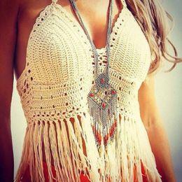 chalecos de estilo bohemio Rebajas Para mujer Diseñador Camisetas Directo de fábrica Blusa de playa Blusa de estilo bohemio Chaleco de las mujeres Atractivas con flecos de diseñador Marca Camisetas Chaleco de las mujeres