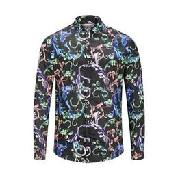 2019 fiore m Medusa Blossom 3D Printed Shirt 2019 T-shirt a righe con onde casual da uomo Polo di marca italiana con maniche lunghe Camicia a maniche lunghe sconti fiore m