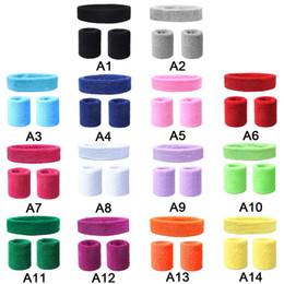 elastic wrist sweatbands Promo Codes - Anti-slip Elastic Sweatband Wrist Support Band with Headband Hairband Sport Run Football Tennis Headscarf 14 Colors for Choice