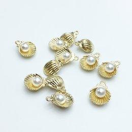 Shell-charme entdeckungen online-Hohe Qualität 60 teile / los 11 * 15mm Gold Farbe Ton Nachahmung Perle Shell Charme Für Schmuck Makingwholesale Heiße Entdeckungen