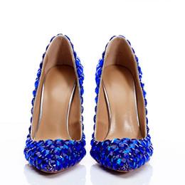 2019 alça de salto azul real Designer de strass sapatos femininos de salto alto Sexy Red Balck azul Royal sapatos de noiva de casamento 2019 verão Prom Party Wear alça de salto azul real barato
