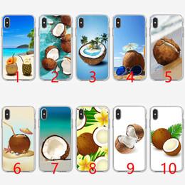 iphone hüllen für strand Rabatt Fruit Coconut am Strand Weiche Silikon-TPU-Handyhülle für iPhone 5 5S SE 6 6S 7 8 Plus X XR XS Max Abdeckung