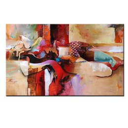 Chicas desnudas del arte moderno online-Pintado a mano moderno abstracto desnudo pintura al óleo sobre lienzo acostada mujer dormida chica sexy desnuda lienzo arte diseño único decoración