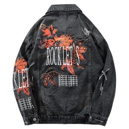 кленовая куртка Скидка Hip Hop Vintage Denim Бомбардировщик куртки Разорванные отверстия Maple Leaf джинсы куртка Streetwear Mens Проблемные джинсовой куртки осень