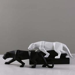 peru de fábrica Desconto Criativo Abstrato Pantera Negra Escultura Resina Geométrica Leopardo Estátua Vida Selvagem Decoração Presente Artesanato Decoração Acessórios de Mobiliário