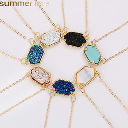 heart resin jewelry Coupons - New Design Geometric Druzy Necklaces 14 Colors Gold Silver Plated Geometry Stone Pendant Necklace For Elegant Women Girls Fashion Jewelry