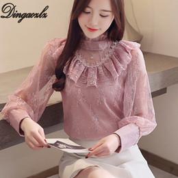 Blouses & Shirts Hearty Fall Fashion Korean Fashion Womens Lace Shirt Ol Temperament Lotus Leaf Long-sleeved Blouse