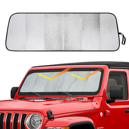 Jeep interno online-Parabrezza Sunshade Sun That Heat Shield Sun Visor Mat per il 2018 2019 Jeep Wrangler JL JLU Accessori interni JLU