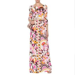 jersey maxi dresses Coupons - New epucci Luxury Brands Designer Beach Dress Women's Colorful Geometry Print XXL Stretch Jersey Silk Spandex Maxi Dress