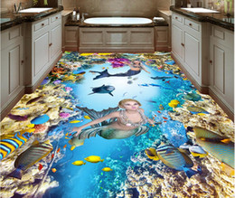 wall stickers mermaids Coupons - 3d pvc flooring custom photo Waterproof floor wall sticker Blue mermaid dolphin coral home decor living room wallpaper for walls 3 d