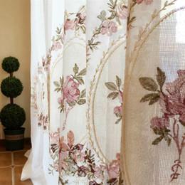 Cortinas blancas flores rosas online-Cortina de flores rosada bordada blanca pura elegante cenefa real tul de tul para sala de estar dormitorio balcón cortinas de puerta