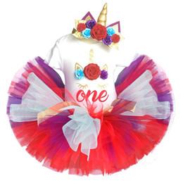 Tutu moelleux bleu en Ligne-bébé licorne 1er anniversaire robe partie 1 année fille vêtements ensembles enfants vêtements barboteuse + bandeau + tutu moelleuse jupe robe Unicornio Y190515