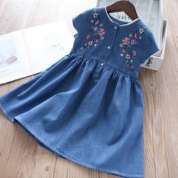 34a64a2c735 Kids denim dress girls floral embroidery princess dress children lace collar  short sleeve jean pleated dress 2019 summer kid clothes F4639