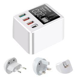 Mobiltelefon ladestation online-Schnelle 4 Port USB Hub QC3.0 Ladegerät Ladestation Ständer mit LED-Anzeigeschirm für Handy Smartphone Tablet EU US UK-Stecker