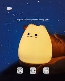 Argentina Lámpara LED decorativa Little Kitty Silicon LED Luz de noche Lámpara de noche Lámpara de baño Mesita de noche Función de memoria de luz Suministro