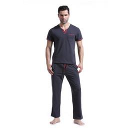2020 marcas de pijamas de algodón Los hombres a estrenar de algodón pijama hombres sólido ocasional pijama Homme V cuello con cordón pijamas chándal más el tamaño XL rebajas marcas de pijamas de algodón