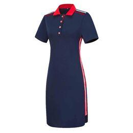 Плюс размер рубашки поло женщин онлайн-Женщины плюс размер с короткими рукавами футболки поло топ в полоску Bodycon Midi платье карандаша Y190425