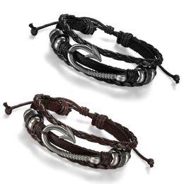 2019 haken armband manschette Männer Frauen Tribal Nautical Angelhaken Leder Wrap Surfer Armband Armreif Manschette Armband Schmuck günstig haken armband manschette