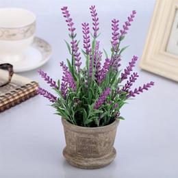 Künstlicher lavendel plastik online-Künstliche Blumen Kunststoff Lavendel Arrangements in Töpfen in Real Touch für Home Garden Party Decor Gefälschte Bonsai