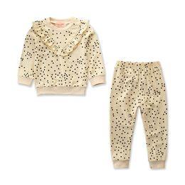 1-6Y Toddler Baby Girls Lovely Autumn Winter 2PCS Conjuntos de manga larga con volantes Dot Print Pullover Rosa sudadera Tops + pantalones desde fabricantes