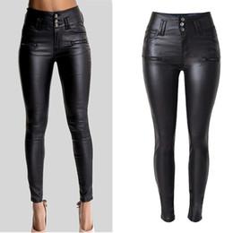 Calças cintura alta mulheres on-line-Das mulheres Sexy Faux Leather Stretch Calças Skinny Lady Preto Cintura Alta Calças Jeans Finas D18111301