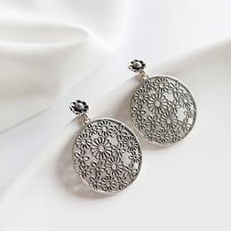 Ohrringe machen online-Echtes 925 Sterling Silber Brinco Ohrring Tun die Alten Stilvollen Hohle Retro Blume Tropfen Ohrringe für Frauen Schmuck YME137