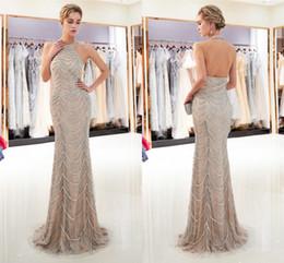 robe de sirène lapidée Promotion Élégant licol dentelle sirène longues robes de soirée Real Image Major pierres précieuses perles étage longueur formelle robes de bal CPS1172