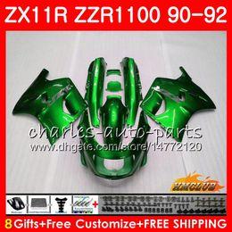 Zzr livelle verdi online-Corpo per KAWASAKI NINJA Metallo verde ZX 11R ZZR 1100 ZX-11R 1990 1991 1992 30HC.138 ZX11 R ZZR1100 ZZR-1100 ZX-11 R ZX11R 90 91 92 Carenature