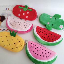2020 sacos de cosmeticos de melancia Caixa de lápis bonito da fruta melancia Cactus Plush Cosmetic Bag Pen Box for Girls suprimentos dom papelaria Bolsa Escola Escritório sacos de cosmeticos de melancia barato