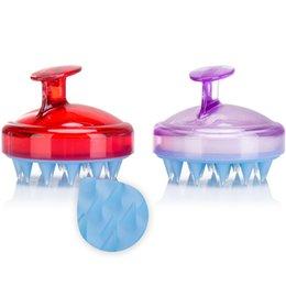 Kopfhautbürsten online-Silikon Shampoo Shampoo Kopfhaut Massagebürste Komfortable Silikon Haarwäsche Kamm Körper Bad Spa Abnehmen Massagebürsten GGA2481