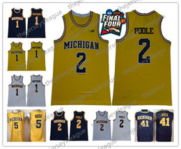 17bcca171af Michigan Wolverines  2 Poole Matthews Webber Rose Howard Rice Stitched  Yellow White Navy Blue Final Four Patch NCAA Basketball Jersey