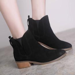 2019 botas de corcho Teahoo 2017 Moda Botas tobillo para las mujeres Resbalón en Cork talones medio de gamuza genuina zapatos de mujer Ronda del dedo del pie genuino Leahter Botas Mujeres botas de corcho baratos