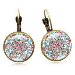 french christmas gifts Coupons - New Vintage French Mandala Flower Earrings Time Gemstone Ear Hook Retro Stud Earrings for Women Lady Jewelry Christmas Gift Free DHL 107F