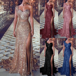 Trompeta sexy online-Rose Gold Sparkly Sequins Mermaid Prom Dresses 2019 In Stock Sweetheart Sexy Slit Full length Trumpet Occasion Evening Gowns