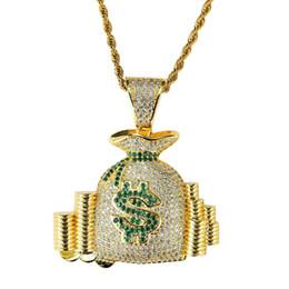 Diamantes de dinero online-Hip hop bolsa de dinero diamantes collares pendientes para hombres mujeres monedero monedero monedas lujo collar joyería chapado en oro cobre circones cadena cubana