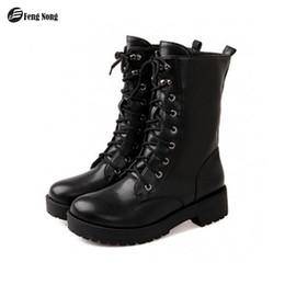 bottes de moto filles Promotion Plate-forme de la cheville de la fille d'âge mûr de bottes pour femmes de Fengnong, chaussures all-match d'extérieur au tube haut toutes saisons, grande taille34-43 WBT107