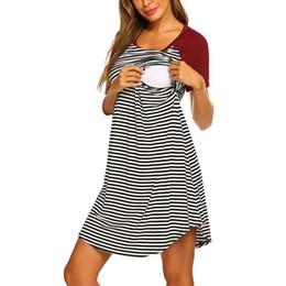Pflegender nachtwäsche online-Lässige Sommerfrauen Umstandskleid Einfache Kurzarm Gestreifte Stillen Nachtwäsche Kleid ropa embarazada