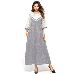 Vestido maxi cinza casual on-line-Maxi vestido longo xadrez patchwork design de renda magro balanço dress casual oco out flare manga mulheres vestidos israel cinza