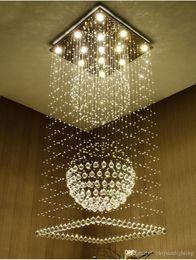 Argentina Candelabros de cristal cuadrados modernos Gota de lluvia empotrada en el techo luz escalera colgante accesorios de iluminación hotel villa bola de cristal en forma de lámpara cheap crystal ball ceiling lights Suministro