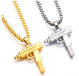 2020 armas de marca Uzi Cadena de Oro Hip Hop Collar Largo Colgante Hombres Mujeres Moda Marca Pistola Pistola Colgante Maxi Collar HIPHOP joyería armas de marca baratos