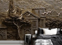 2019 árvores de papel de parede aves crianças Personalizado mural papel de parede para crianças quarto pintado à mãoEmbossed floresta hut grande árvore voando pássaro papel de parede murais papel de parede árvores de papel de parede aves crianças barato